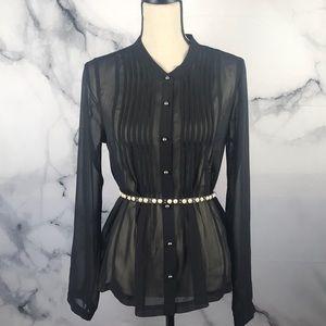 Forever 21 sheer long sleeve blouse in black